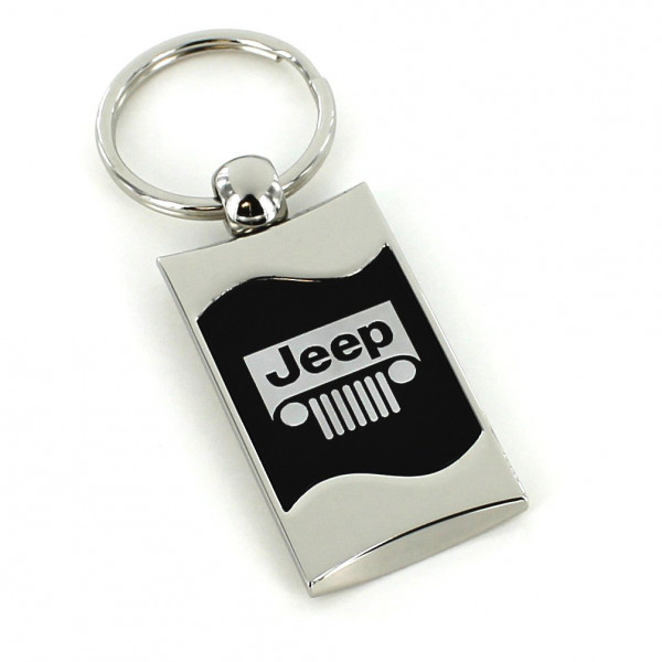 Schlüsselanhänger Jeep, Metall, schwarz/silber