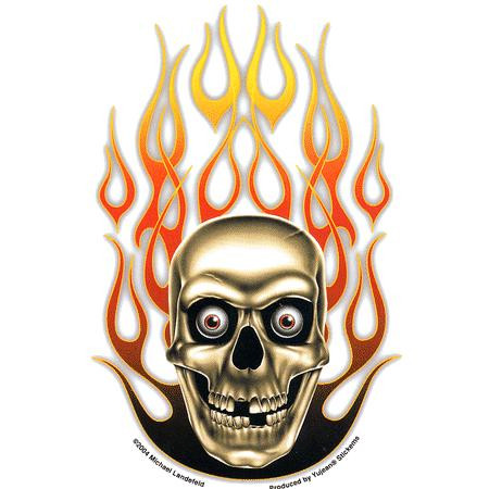 Aufkleber Mike´s Flaming Skull, Michael Landefeld
