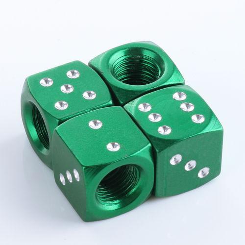 Ventilkappen Würfel, Metall, grün eloxiert, 4er Satz