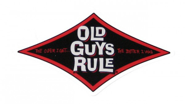 "Aufkleber Old Guys Rule, rot,"" The older I get, the better I was!"""