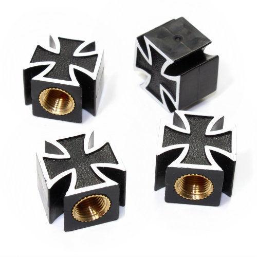 Ventilkappen Malteser Kreuz, schwarz, Kunststoff, 4er Satz