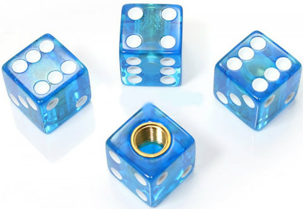 Ventilkappen Set, 4teilig, Würfel, blau klar