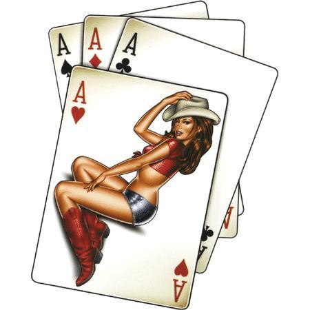 Aufkleber Ace High Cowgirl, Poker