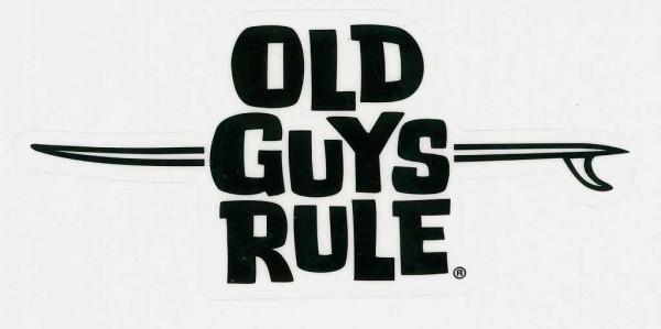 Aufkleber Old Guys Rule Schriftzug m. Longboard, schwarz