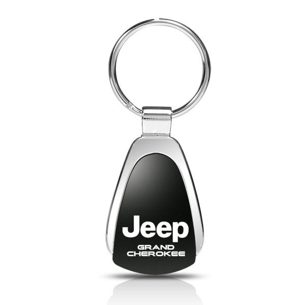 Schlüsselanhänger Jeep Grand Cherokee, Metall, Tropfenform, schwarz/silber