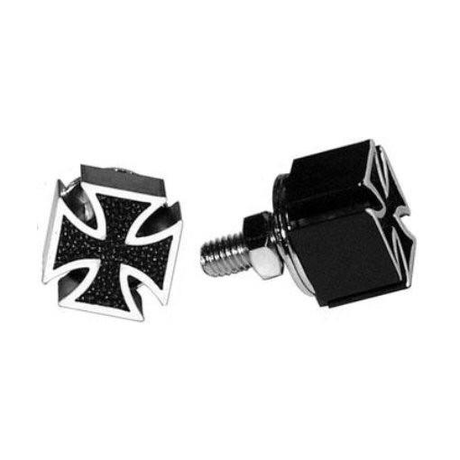 Mooneyes Kennzeichenschraube, Iron Cross, schwarz