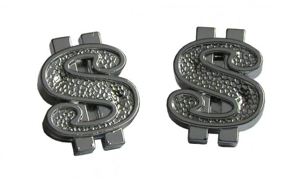 Ventilkappen Set, 2 Stk., Dollar-Zeichen, chrom