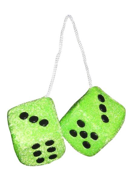 Plüschwürfel, Fuzzy Dice, grün, 4x4 cm