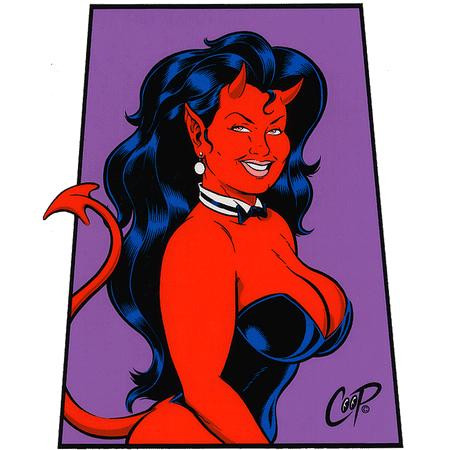 Aufkleber Trapezoid Devil Girl, Coop