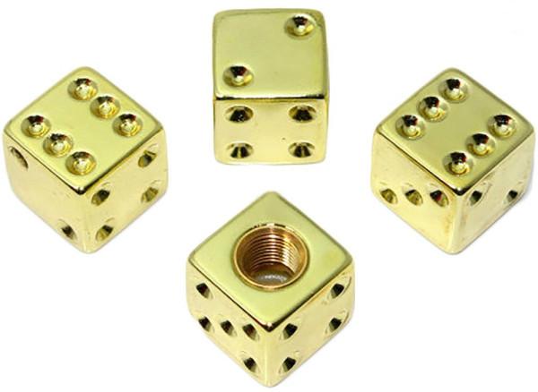 Ventilkappen Set, 4teilig, Würfel, gold