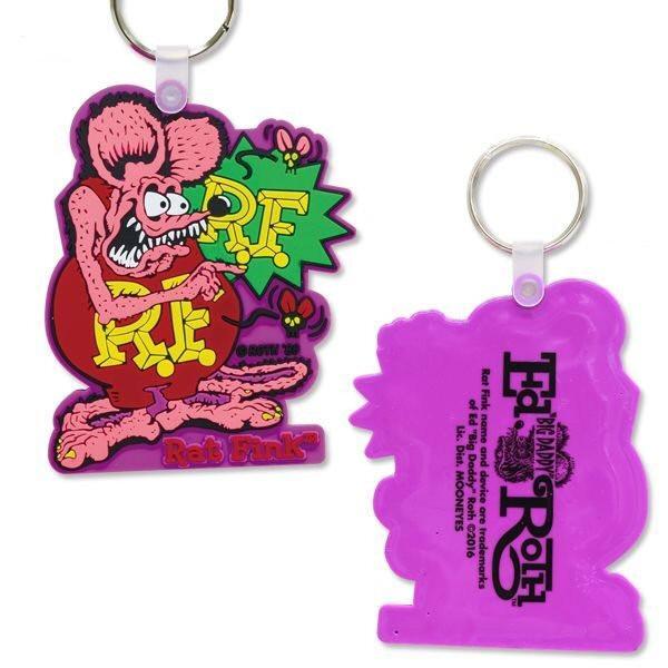 Schlüsselanhänger Rat Fink, pink, Gummi