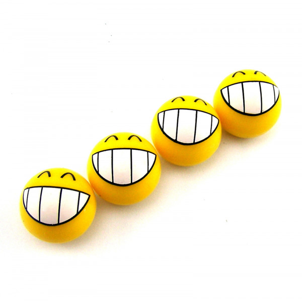 Ventilkappen Emoticon, grinsend, Kunststoff, 4er Satz