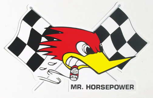 Mooneyes Aufkleber, Mr. Horsepower m. Race-Flag, rechts