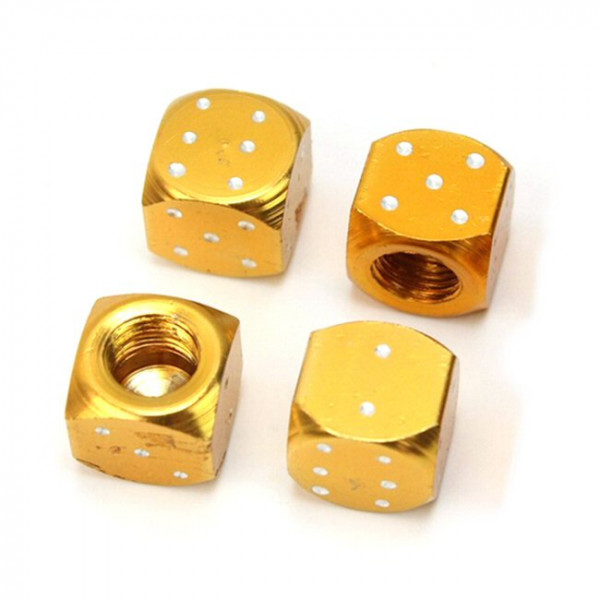 Ventilkappen Würfel, Metall, gold eloxiert, 4er Satz