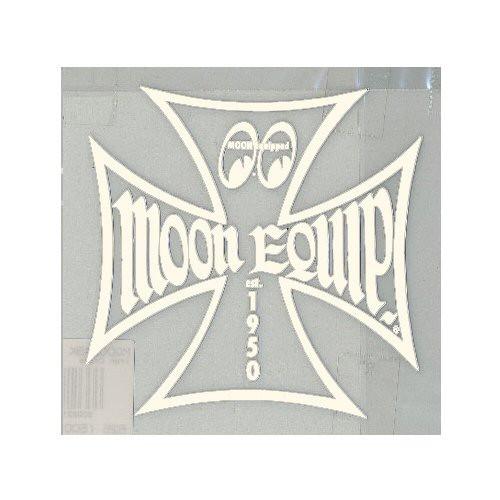 Mooneyes Aufkleber, Eisernes Kreuz, beige liniert