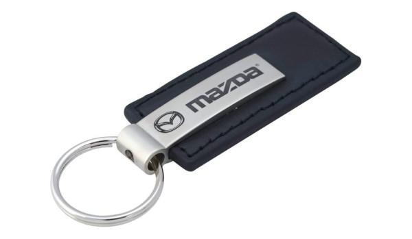 Schlüsselanhänger Mazda, Leder, schwarz