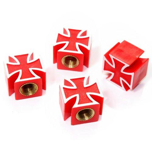 Ventilkappen Malteser Kreuz, rot, Kunststoff, 4er Satz