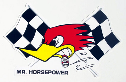 Mooneyes Aufkleber, Mr. Horsepower m. Race-Flag, links