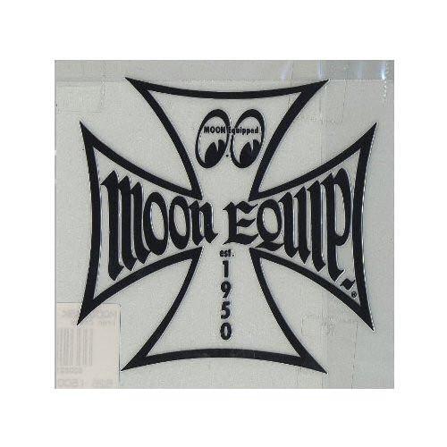 Mooneyes Aufkleber, Eisernes Kreuz, schwarz liniert