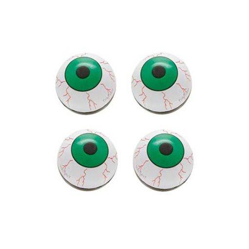 Ventilkappen Set, 4teilig, Auge, grün