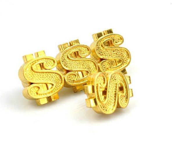 Ventilkappen Set, 4teilig, Dollar-Zeichen, gold