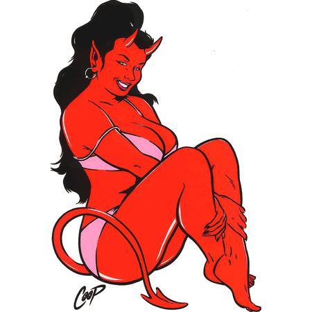 Aufkleber Bikini Devil Girl, Coop