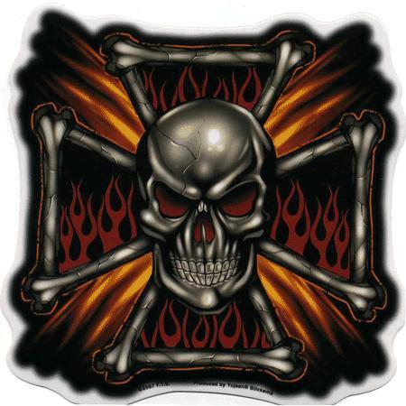 Aufkleber Flame Cross Skull