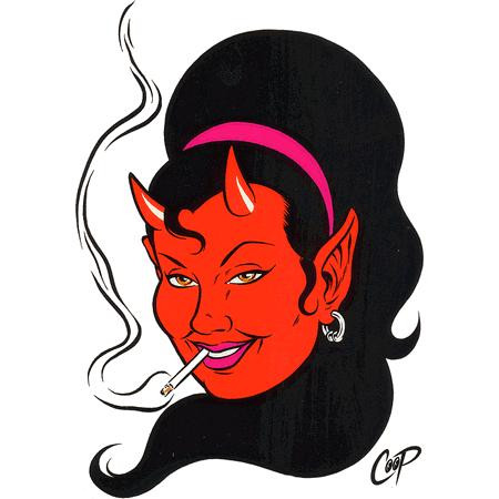 Aufkleber Smoking Hot Devil, Coop