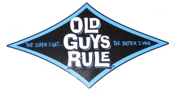 """Aufkleber Old Guys Rule, blau, """" The older I get, the better I was!"""""""