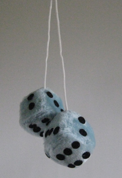 Plüschwürfel, Fuzzy Dice, 6 Farben, 5x5 cm