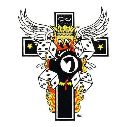Aufkleber Kreuz in Flammen, Kozik