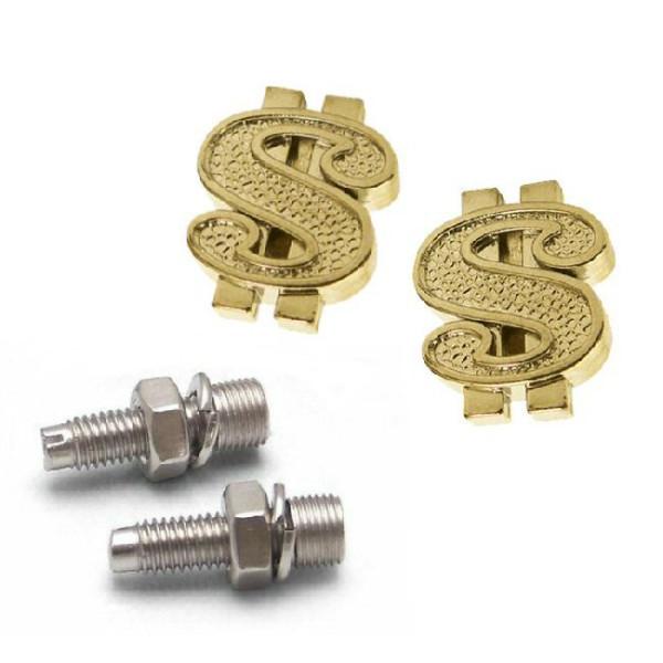 Kennzeichenschrauben Set, 2teilig, Dollar-Zeichen, gold