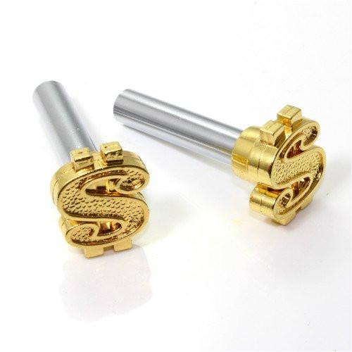 Türknopf Set, 2 Stk, Dollar-Zeichen, gold