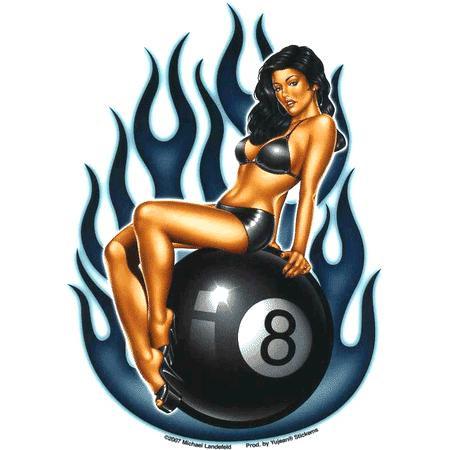 Aufkleber Eight Ball Lady, Michael Landefeld