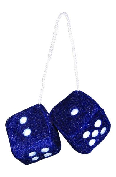 Plüschwürfel, Fuzzy Dice, blau, 4x4 cm