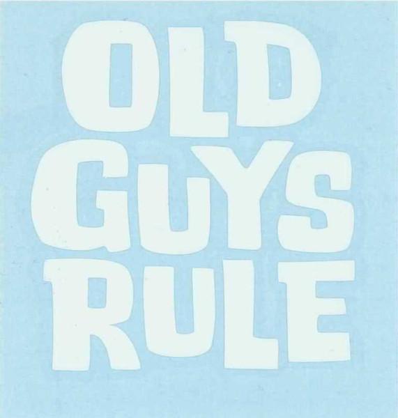 "Aufkleber ""Old Guys Rule"" Schriftzug, weiß"