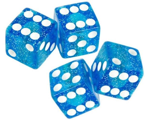 Ventilkappen Set, 4teilig, Würfel, glitter-blau