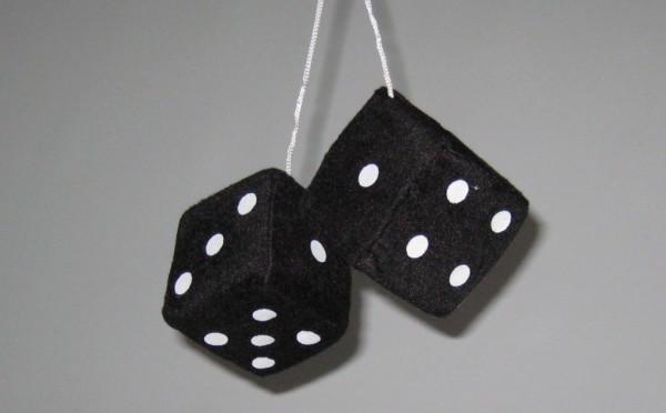 Plüschwürfel, Fuzzy Dice, 6 Farben, 7x7 cm schwarz